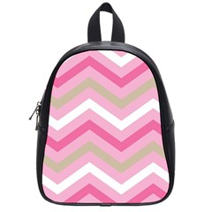 Pink Red White Grey Chevron Wave School Bags (Small)