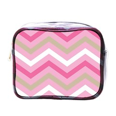 Pink Red White Grey Chevron Wave Mini Toiletries Bags