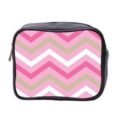Pink Red White Grey Chevron Wave Mini Toiletries Bag 2 Side