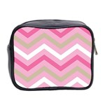 Pink Red White Grey Chevron Wave Mini Toiletries Bag 2-Side Back