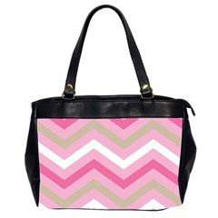 Pink Red White Grey Chevron Wave Office Handbags (2 Sides)