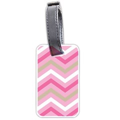 Pink Red White Grey Chevron Wave Luggage Tags (One Side)
