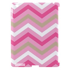 Pink Red White Grey Chevron Wave Apple iPad 3/4 Hardshell Case (Compatible with Smart Cover)
