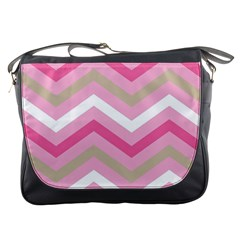 Pink Red White Grey Chevron Wave Messenger Bags