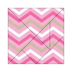 Pink Red White Grey Chevron Wave Acrylic Tangram Puzzle (6  x 6 )