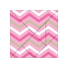 Pink Red White Grey Chevron Wave Acrylic Tangram Puzzle (4  x 4 )