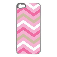 Pink Red White Grey Chevron Wave Apple iPhone 5 Case (Silver)