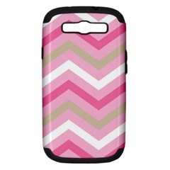Pink Red White Grey Chevron Wave Samsung Galaxy S III Hardshell Case (PC+Silicone)