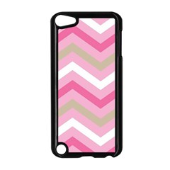 Pink Red White Grey Chevron Wave Apple iPod Touch 5 Case (Black)
