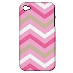 Pink Red White Grey Chevron Wave Apple iPhone 4/4S Hardshell Case (PC+Silicone)
