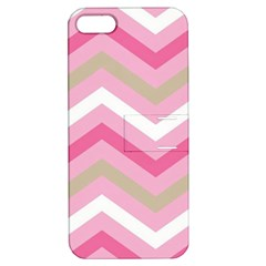 Pink Red White Grey Chevron Wave Apple iPhone 5 Hardshell Case with Stand