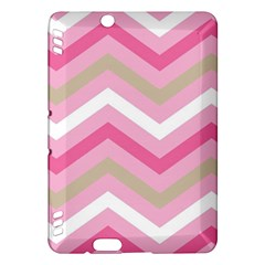 Pink Red White Grey Chevron Wave Kindle Fire HDX Hardshell Case