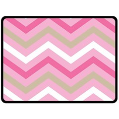 Pink Red White Grey Chevron Wave Double Sided Fleece Blanket (Large)