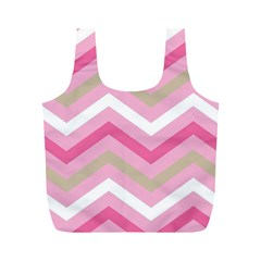Pink Red White Grey Chevron Wave Full Print Recycle Bags (M)
