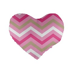Pink Red White Grey Chevron Wave Standard 16  Premium Flano Heart Shape Cushions