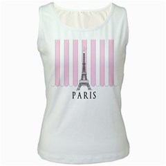 Pink Paris Eiffel Tower Stripes France Women s White Tank Top