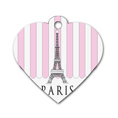 Pink Paris Eiffel Tower Stripes France Dog Tag Heart (Two Sides)