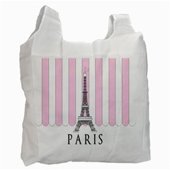 Pink Paris Eiffel Tower Stripes France Recycle Bag (Two Side)