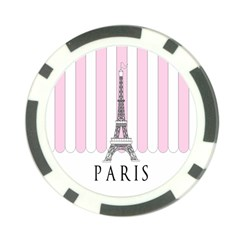 Pink Paris Eiffel Tower Stripes France Poker Chip Card Guard (10 pack)