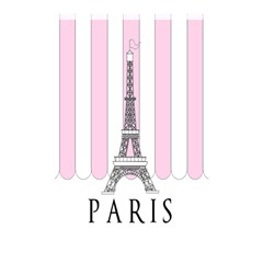 Pink Paris Eiffel Tower Stripes France Shower Curtain 48  x 72  (Small)