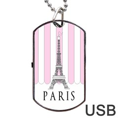 Pink Paris Eiffel Tower Stripes France Dog Tag USB Flash (Two Sides)