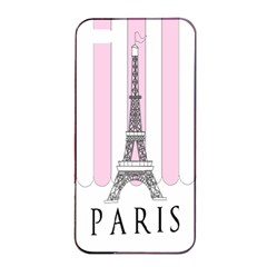 Pink Paris Eiffel Tower Stripes France Apple iPhone 4/4s Seamless Case (Black)