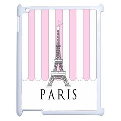 Pink Paris Eiffel Tower Stripes France Apple iPad 2 Case (White)