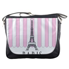Pink Paris Eiffel Tower Stripes France Messenger Bags