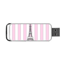 Pink Paris Eiffel Tower Stripes France Portable USB Flash (Two Sides)