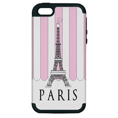 Pink Paris Eiffel Tower Stripes France Apple iPhone 5 Hardshell Case (PC+Silicone)