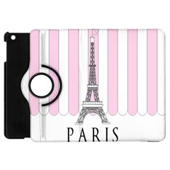 Pink Paris Eiffel Tower Stripes France Apple iPad Mini Flip 360 Case