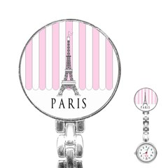 Pink Paris Eiffel Tower Stripes France Stainless Steel Nurses Watch