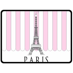 Pink Paris Eiffel Tower Stripes France Double Sided Fleece Blanket (Large)