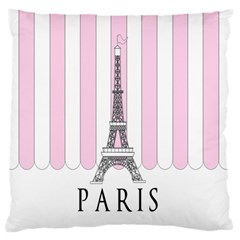 Pink Paris Eiffel Tower Stripes France Standard Flano Cushion Case (One Side)