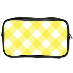 Plaid Chevron Yellow White Wave Toiletries Bags 2-Side