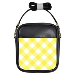 Plaid Chevron Yellow White Wave Girls Sling Bags