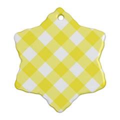 Plaid Chevron Yellow White Wave Ornament (Snowflake)