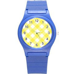 Plaid Chevron Yellow White Wave Round Plastic Sport Watch (S)