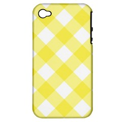 Plaid Chevron Yellow White Wave Apple iPhone 4/4S Hardshell Case (PC+Silicone)