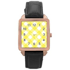 Plaid Chevron Yellow White Wave Rose Gold Leather Watch