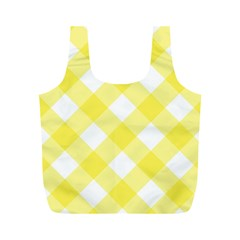 Plaid Chevron Yellow White Wave Full Print Recycle Bags (M)