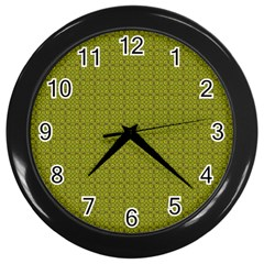 Royal Green Vintage Seamless Flower Floral Wall Clocks (Black)