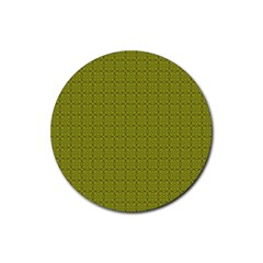 Royal Green Vintage Seamless Flower Floral Rubber Round Coaster (4 pack)
