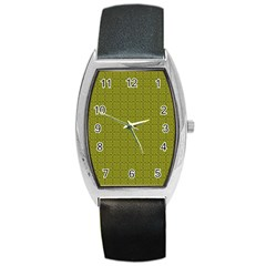 Royal Green Vintage Seamless Flower Floral Barrel Style Metal Watch