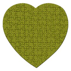 Royal Green Vintage Seamless Flower Floral Jigsaw Puzzle (Heart)