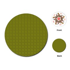 Royal Green Vintage Seamless Flower Floral Playing Cards (Round)
