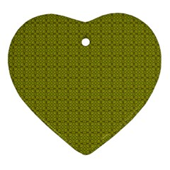 Royal Green Vintage Seamless Flower Floral Heart Ornament (Two Sides)