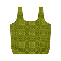 Royal Green Vintage Seamless Flower Floral Full Print Recycle Bags (M)