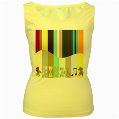 Rainbow Color Line Vertical Rose Bubble Note Carrot Women s Yellow Tank Top