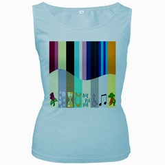 Rainbow Color Line Vertical Rose Bubble Note Carrot Women s Baby Blue Tank Top